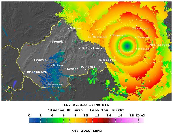 Bouřka viděná srážkovým radarem 17.45.